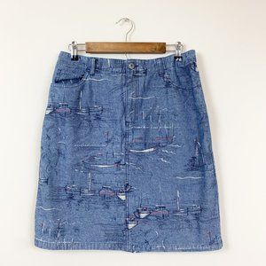 Liz Claiborne Vintage Denim Sailboat Jean Skirt 10